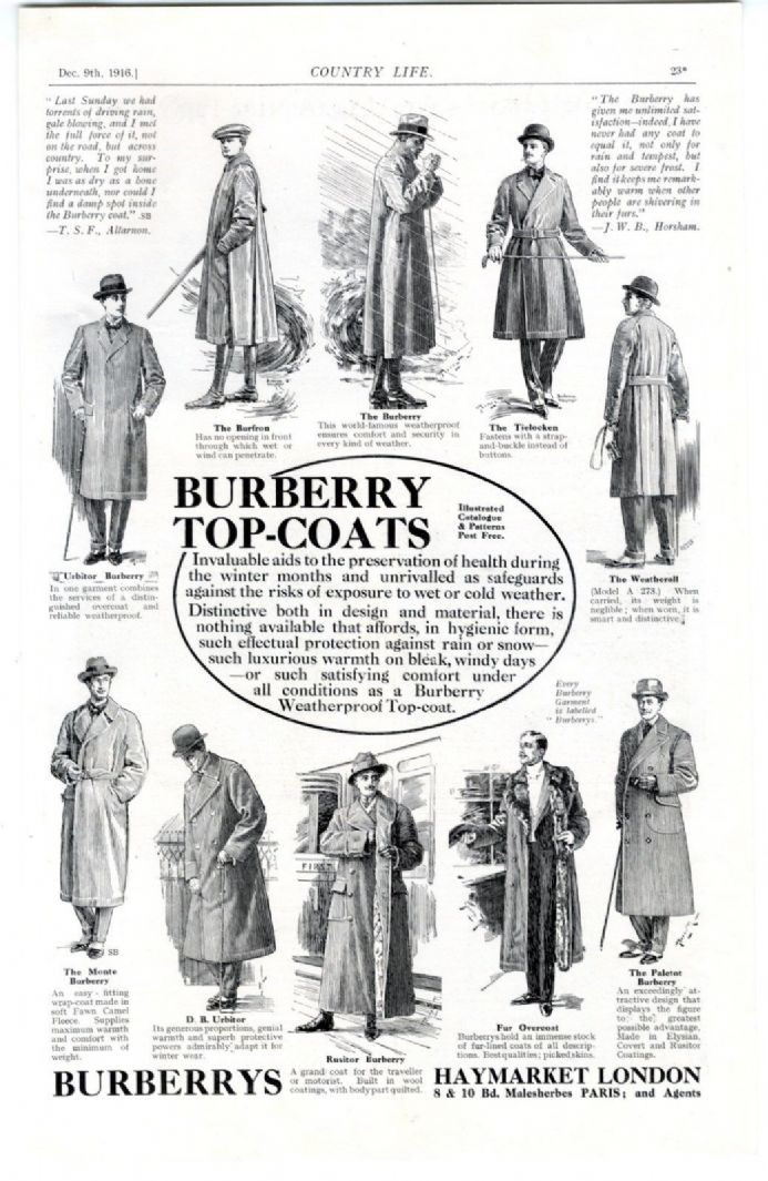 1916 BURBERRY COAT Original Advert MENS FASHION Kings House Hove Brighton (23)